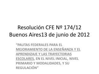 Resolución CFE Nº 174/12  Buenos Aires13 de junio de 2012
