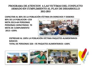 PROGRAMA DE ATENCION  A LAS VICTIMAS DEL CONFLICTO ARMADO EN CUMPLIMIENTO AL PLAN DE DESARROLLO