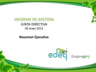 INFORME DE GESTIÓN  JUNTA  DIRECTIVA 30 mayo 2013 Resumen Ejecutivo