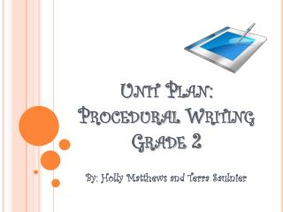 Unit Plan: Procedural Writing Grade 2