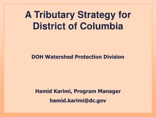 A Tributary Strategy for District of Columbia