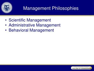 Management Philosophies