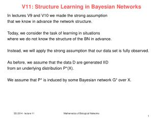 V11:  Structure  Learning in  Bayesian  Networks