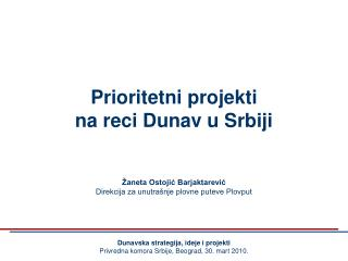 Prioritetni  p rojekti na reci Dunav u Srbiji