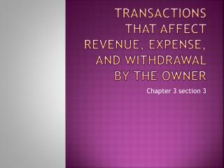 Transactions That affect Revenue, Expense, and Withdrawal by the owner