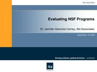 Evaluating NSF Programs