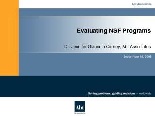 Evaluating NSF Programs
