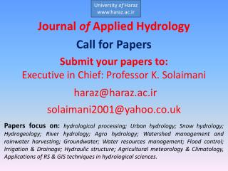 Journal  of  Applied Hydrology Call for Papers