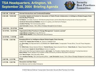 TSA Headquarters, Arlington, VA September 28, 2004  Briefing Agenda