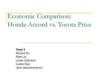 Economic Comparison: Honda Accord vs. Toyota Prius