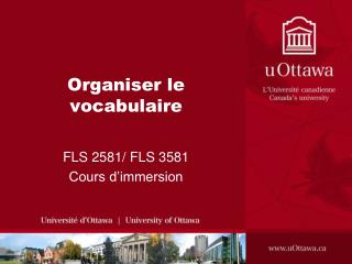 Organiser le vocabulaire