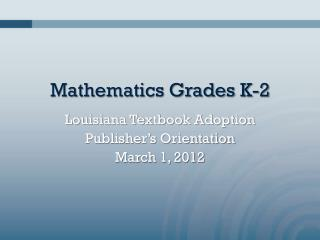 Mathematics Grades K-2