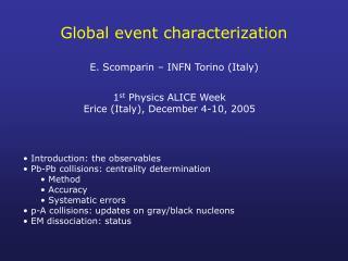 Global event characterization