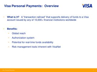 Visa Personal Payments:  Overview