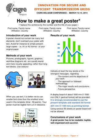 CIGRE  Belgium Conference  2014 - Poster Session –  Paper  n°