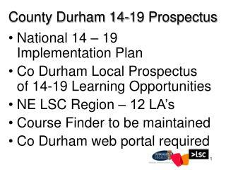 County Durham 14-19 Prospectus