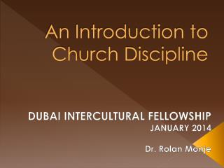 An Introduction to Church Discipline