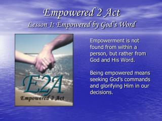 Empowered 2 Act Lesson 1: Empowered by God s Word