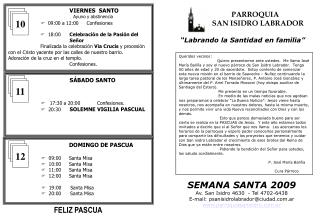 """PARROQUIA                 SAN ISIDRO LABRADOR """"Labrando la Santidad en familia"""""""