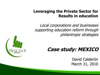 Leveraging the Private Sector for Results in education