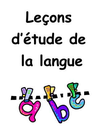 Leçons d'étude de la langue