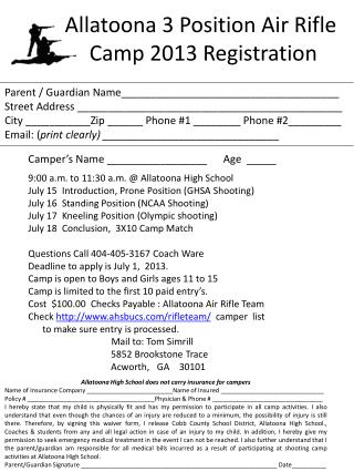 Allatoona 3 Position Air Rifle  Camp 2013 Registration