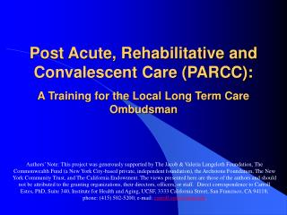 Definition of PARCC (Post-Acute, Rehabilitative, and Convalescent Care)