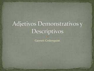 Adjetivos  Demonstrativos y Descriptivos