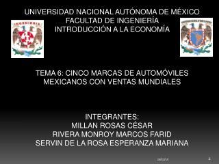 UNIVERSIDAD NACIONAL AUTÓNOMA DE MÉXICO FACULTAD DE INGENIERÍA  INTRODUCCIÓN A LA ECONOMÍA
