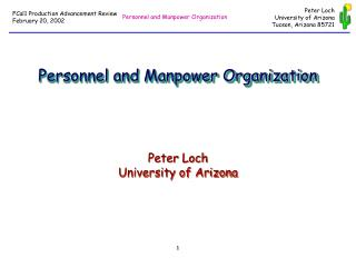 Personnel and Manpower Organization