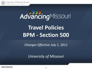 Travel Policies BPM - Section 500