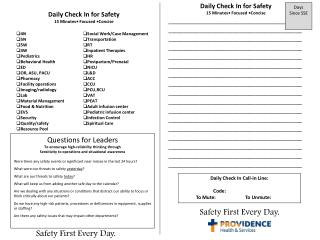 Daily Check In for Safety 15 Minutes• Focused •Concise