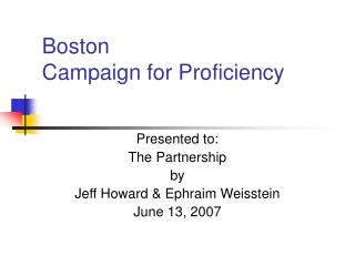 Boston  Campaign for Proficiency