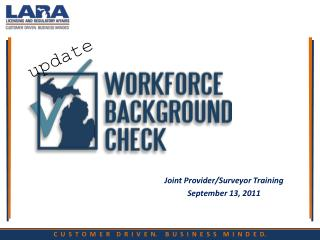 Joint Provider/Surveyor Training September 13, 2011