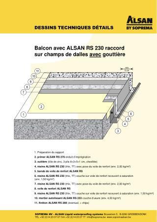 1. Préparation  du support 2. primer ALSAN RS 276  enduit d' imprégnation