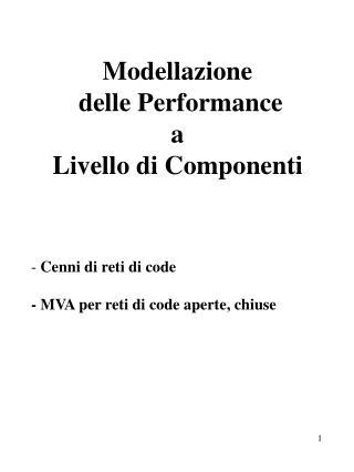 Modellazione  delle Performance  a  Livello di Componenti