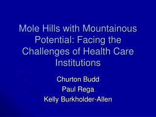 Mole Hills with Mountainous Potential: Facing the Challenges of Health Care Institutions
