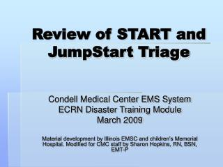 Review of START and JumpStart Triage