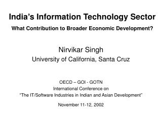 India s Information Technology Sector  What Contribution to Broader Economic Development