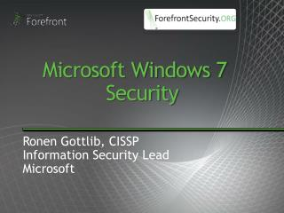 Microsoft Windows 7   Security