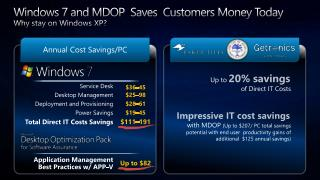 Windows 7 and MDOP  Saves  Customers Money Today Why stay on Windows XP?