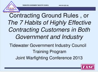 TIDEWATER GOVERNMENT INDUSTRY COUNCIL                                 tasc-tgic