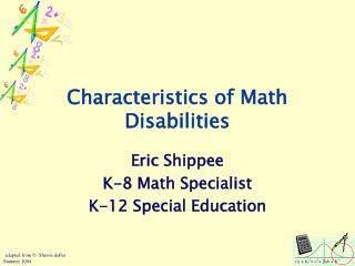 Characteristics of Math Disabilities