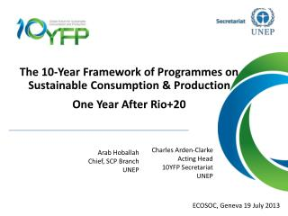 The 10-Year Framework of Programmes on Sustainable Consumption & Production