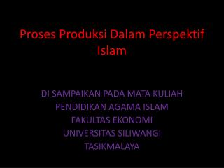 Proses Produksi Dalam Perspektif Islam