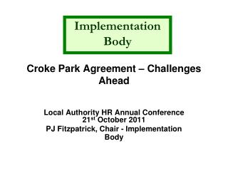 Croke Park Agreement – Challenges Ahead