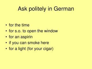 Ask politely in German