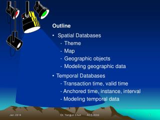 Outline  Spatial Databases Theme Map Geographic objects Modeling geographic data