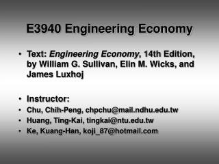E3940 Engineering Economy
