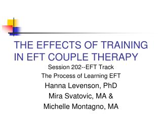 THE EFFECTS OF TRAINING IN EFT COUPLE THERAPY